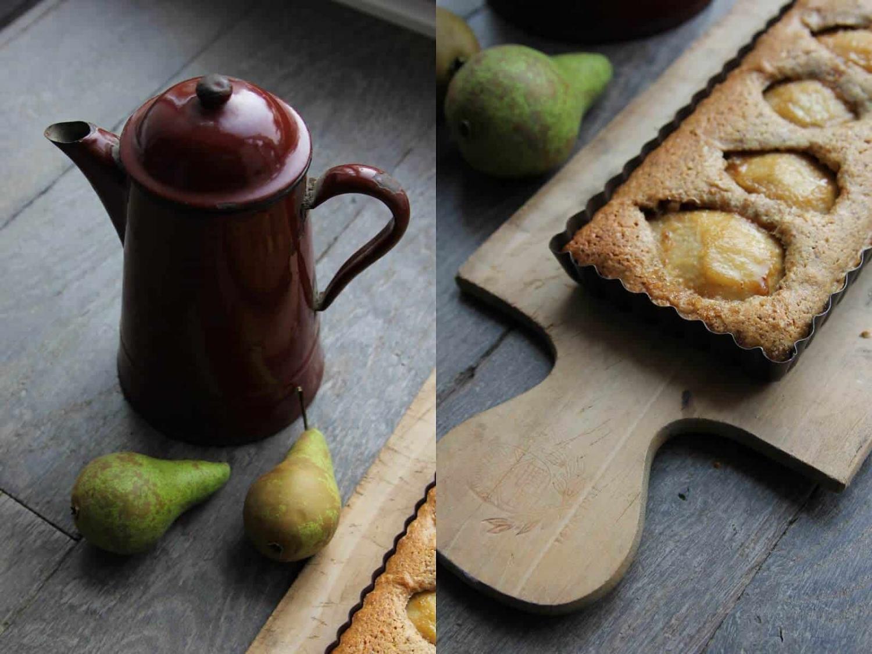 Obsternte und Birnen-Mandel-Kuchen