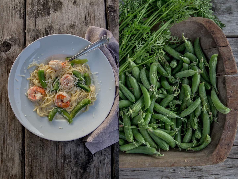 Zuckerschoten Rezept mit Garnelen und Spaghetti